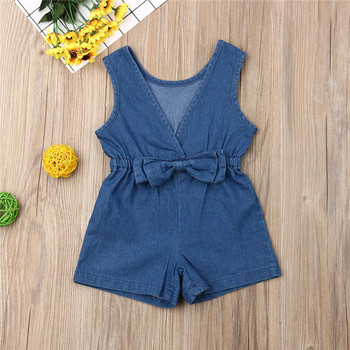 Kid Denim Rompers Solid Blue Baby Girls Newborn Clothes Cotton Romper Bow Jumpsuit Summer Outfits Set