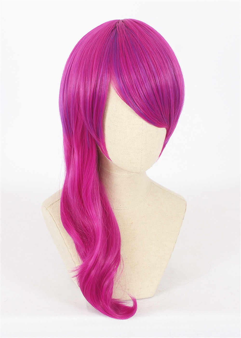 Персонаж игры LOL K/DA Evelynn Косплей парики 50 см Розовый Красный KDA термостойкие синтетические волосы Perucas Косплей парик
