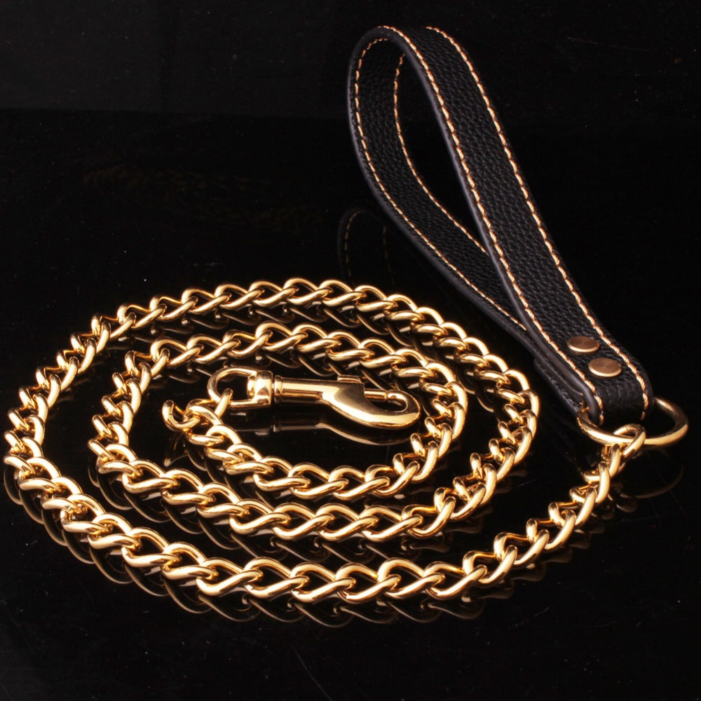 9mm Trendy Strong Black Leather Pet Dog Jewelry Leash Lead Gold Curb Link Chain For Walking Running 9inch+52inch High Quality