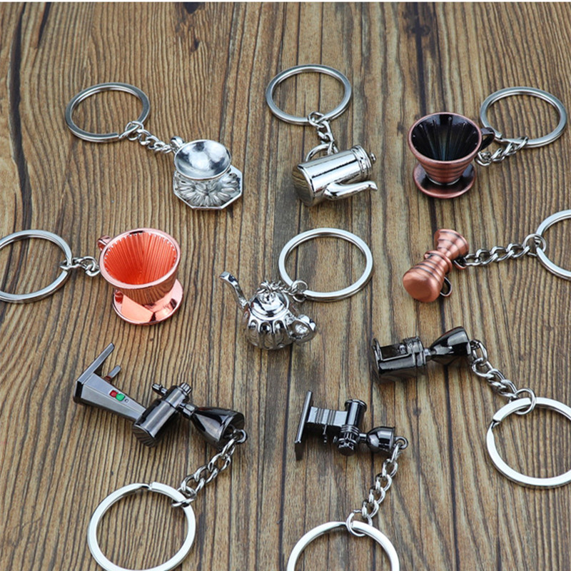 10 Pcs Creative 3D Bartender Keychain Simulation Coffee Keychain Coffee Machine Keyring Portable Coffeeware Accessories