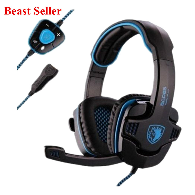 Sades 901 SA-901 SA901 USB Gaming Headset 7.1 Surround Sound 901 Game Headphone Earphone with Microphone for PC computer Gamer kotion each g2200 usb 7 1 surround sound vibration game gaming headphone computer headset earphone headband with mic led for pc