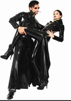Sexy Black PVC Dress Halloween Costumes Exotic Dancewear Women Erotic Faux Leather Latex Catsuit Club Wear