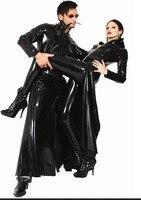 Vestido de PVC Negro Sexy Disfraces de Halloween ropa de Baile Exótico Mujeres Erotic Faux Leather Catsuit De Látex Traje Desgaste Del Club del Sexo de Los Peluches