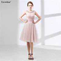 Favordear New Pleat Scoop Zipper Back Sequined Blush Graduation Homecoming Dresses