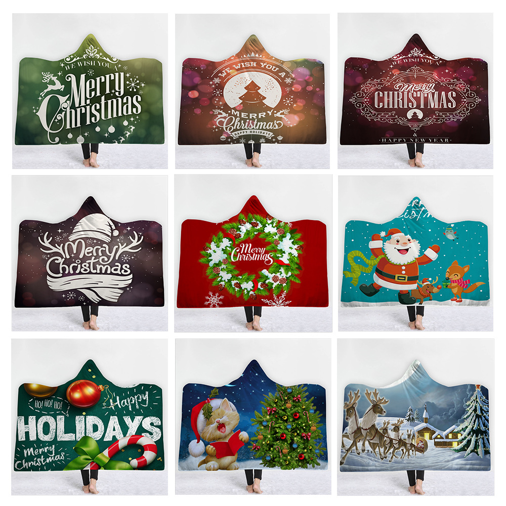 3D Christmas Printed Soft Cozy Blanket with hooded fleece Blanket with cap night-robe winter Wrapped cloak L320