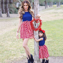 цены на 2019 Mommy and me family matching mother daughter dresses clothes striped mom and daughter dress kids parent child outfits C0370  в интернет-магазинах