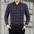 Plaid Shirts Fashion Men Brushed Cotton Shirt Slim Long Sleeve Dress Camisa Masculina Men Social Chemise Homme Asian Size Z2567