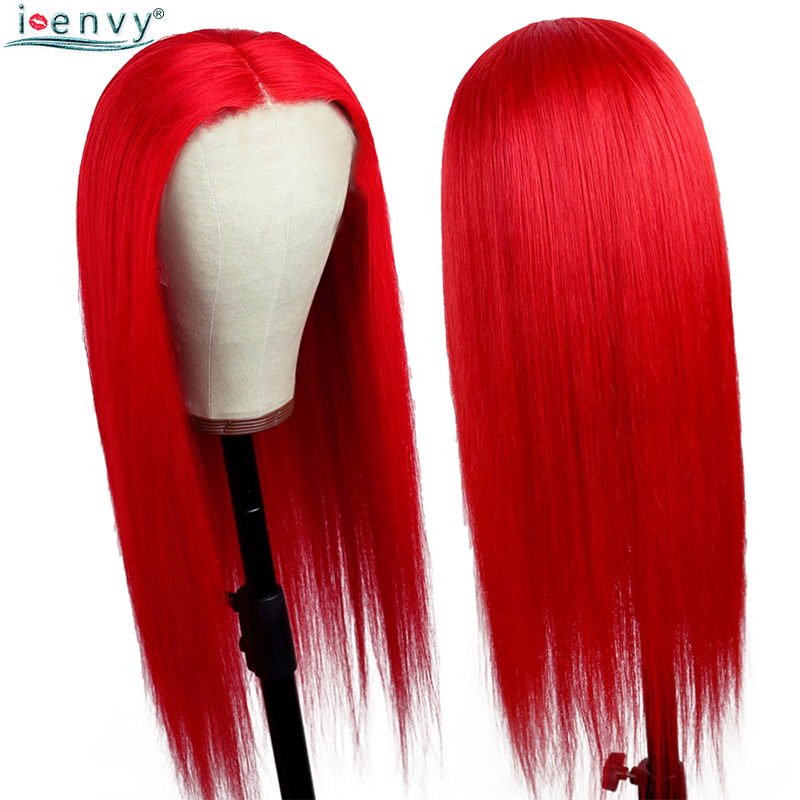 I Envy Red Brazilian Human Hair Lace Front Wigs Burgundy Straight Wigs With Lace Front 99J Colored Wigs For Black Woman Non Remy