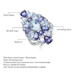 Image 5 - Mücevher bale çok renkli doğal Sky Blue Topaz mistik kuvars kokteyl yüzük kadınlar için 925 ayar gümüş taş yüzük takı