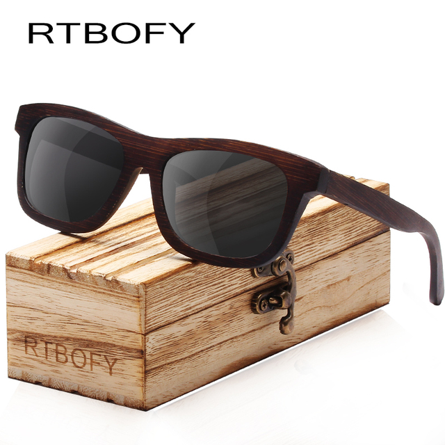 232d46ba981 RTBOFY Wood Sunglasses for Men   Women Polarized Lenses Glasses Bamboo  Frame Eyeglasse Vintage Design Shades UV400 Protection