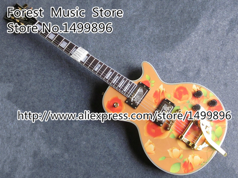China Custom Shop Bueatiful Orange Flower Finish LP Custom Electric Guitars with Bigsby And Ebony Fingerboard Available шина michelin latitude x ice north lxin2 255 55 r20 110t xl