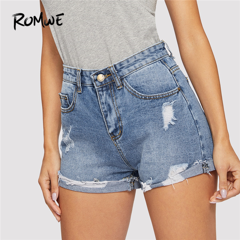 ROMWE Blue Ripped Cuffed Hem Denim   Shorts   Women Plain 2019 Summer Pocket Button Fly Mid Waist Casual Streetwear   Shorts