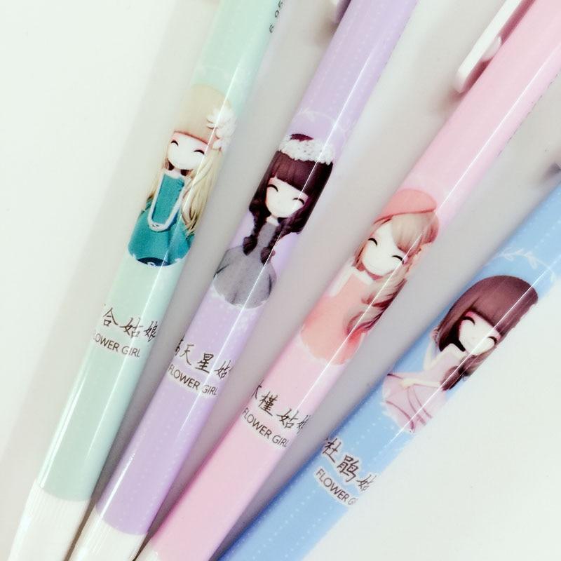C54 4X Cute Kawaii Bee Style Striped Press Mechanical Pencil Writing School