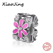 Recommend pink color enamel flower charms 925 Sterling Silver beads Fit authentic pandora Bracelet diy bead Jewelry making Gift