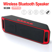 SC208 Support TF Card USB Disk FM Radio Column Stereo Subwoofer Bass Sound Speakers Bluetooth 4.0 Portable Wireless Speaker wireless bluetooth speaker sc208 computer mini dual speaker portable small stereo car subwoofer support tf card usb disk