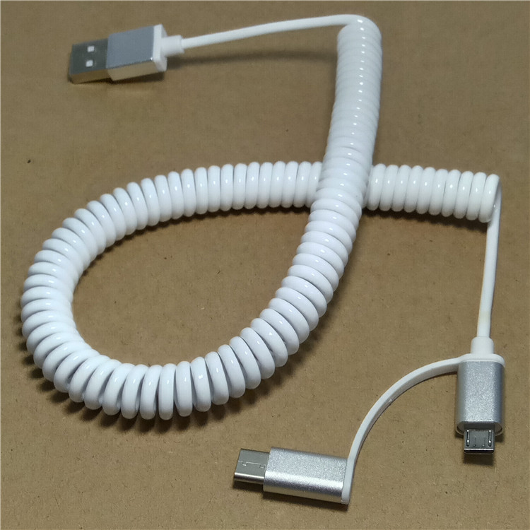 2 in 1 Stretch USBC USB-C 3.1 USB Type C Micro USB 2.0 A Male Data Flat Slim Charge date Cable 3m 10ft for Tablet & Mobile Phone