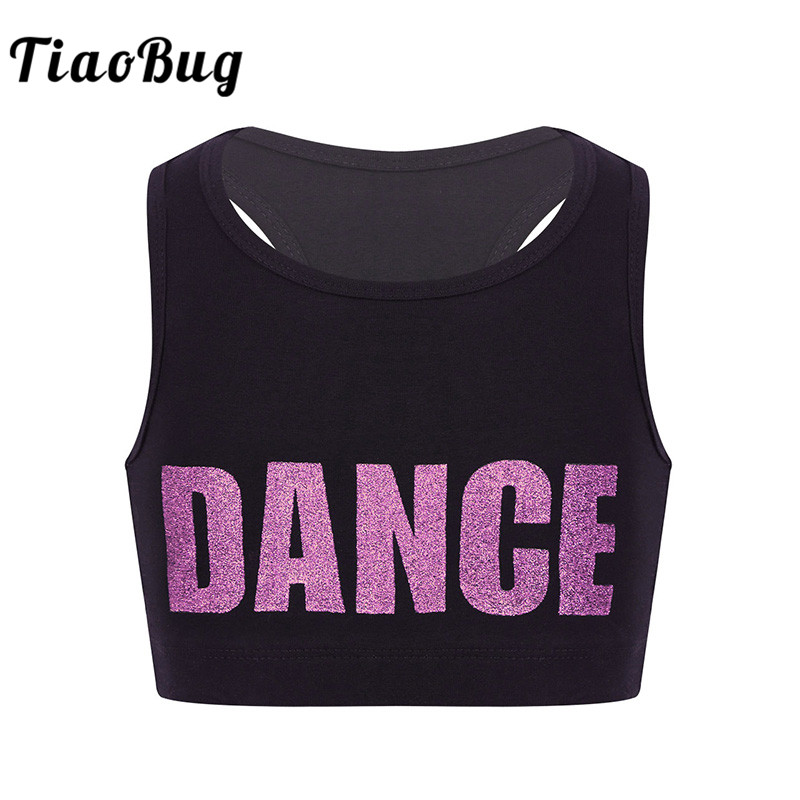 TiaoBug Children Girls Sleeveless Gymnastics Ballet Tops Shiny Letters DANCE Printed Crop Top Stage Performance Dance Costumes