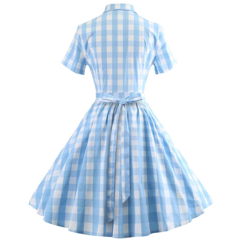 Joineles элегантный плед печати Женское вечернее платье а-ля 60ые Одри Хепберн Винтаж платье размера плюс 5XL качели Feminino Vestidos