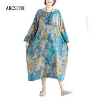 ARCSINX Cotton Women Dresses Plus Size 4XL 5XL 6XL 2017 Casual Print Tree Comfortable Women Oversized