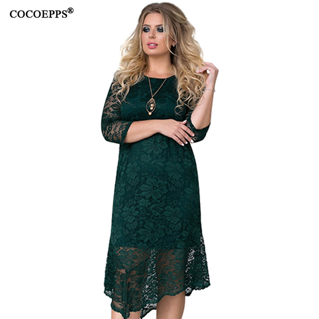 fcd9862c2fd COCOEPPS New Elegant Plus Size Lace Women Dress 6XL Floral Mesh Big Size  Dress Bodycon Large Size Female Clothing Dress Vestidos