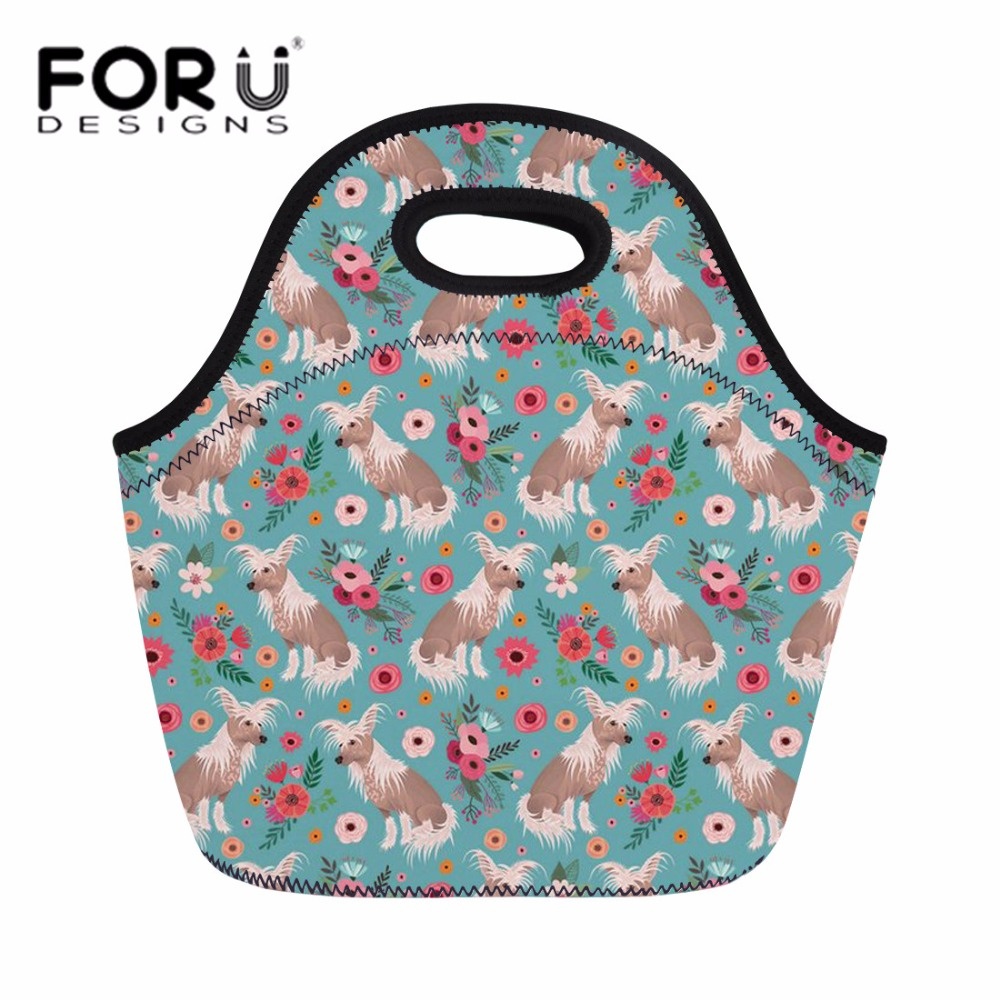 FORUDESIGNS Thermal Cooler Lunch Bag for Women Chinese Crested Meal Bag for Picnic Students Girls Cute School Lunch Box Portable
