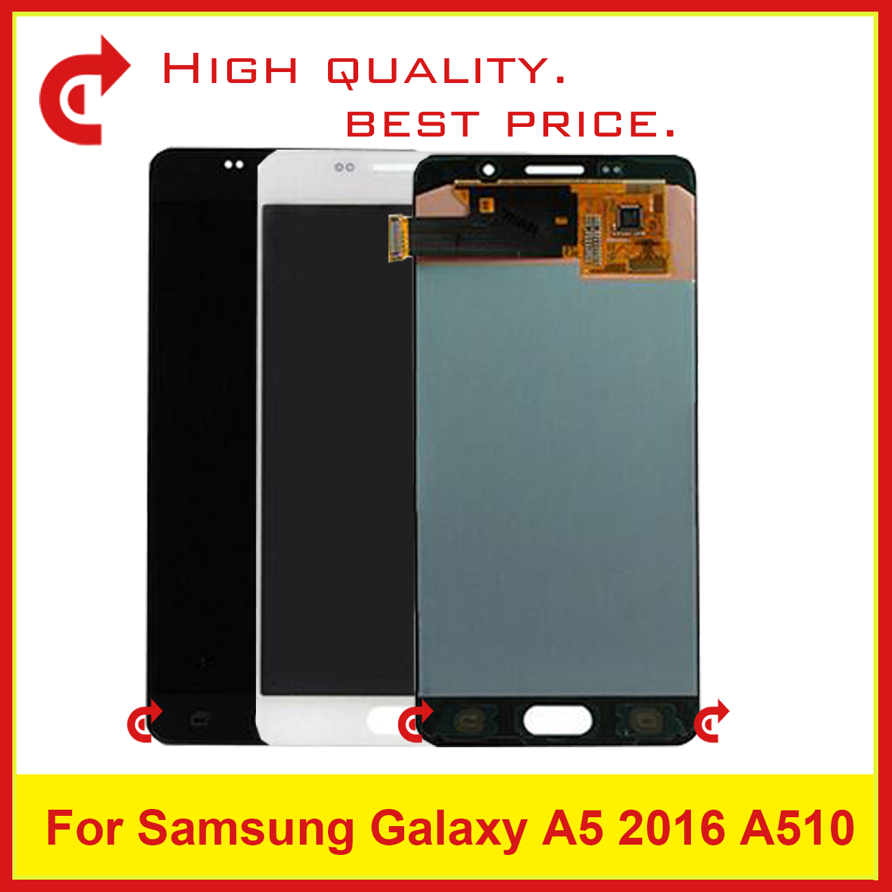 10 pz DHL Per Samsung Galaxy A5 2016 A510 A510F A510M A510FD A510Y Display Lcd Con Touch Screen Digitizer Assembly completo