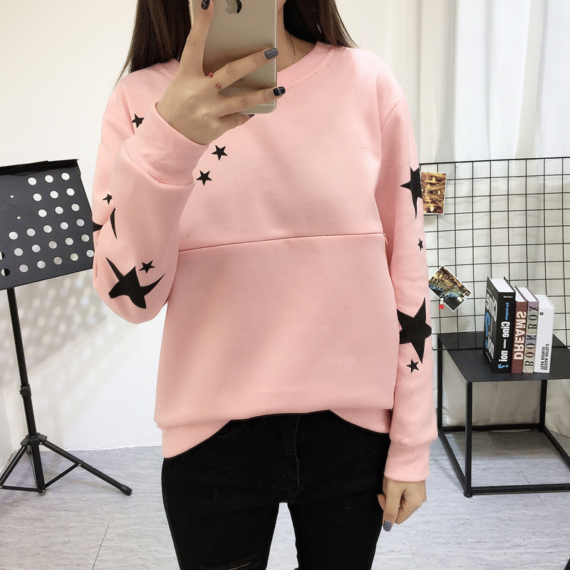 Apregies Maternity Nursing Top Sweatshirt Spring Long Sleeve Stars Print Breastfeeding Tops T Shirt Pullover Pregnancy Fashion stars print tulip front tank top