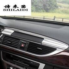 Стайлинга автомобилей приборной панели Предупреждение свет декоративная рамка Крышка Стикеры Накладка для Audi A6 C7 интерьер Авто аксессуары нержавеющая сталь