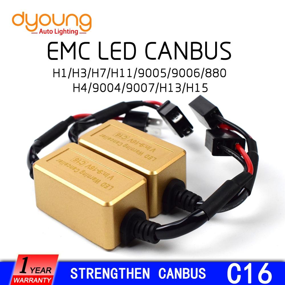 C16 2pcs Strengthen LED Headlight Canbus  Kit H1 H4 H15 9005 9006 H7 H13H11 Computer Warning Error EMC Resistor Canceler Decoder