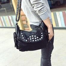 2017 new fashion Bag Women Shoulder Crossbody Bags Women's soft PU Handbag shoulder rivet daily casual bag