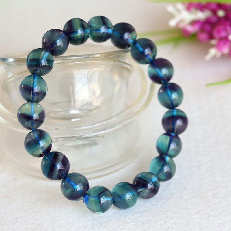 High Quality Natural Purple Blue Fluorite Cornucopia Smooth Round Finished Stretch Bracelets Beads 10mmHigh Quality Natural Purple Blue Fluorite Cornucopia Smooth Round Finished Stretch Bracelets Beads 10mm