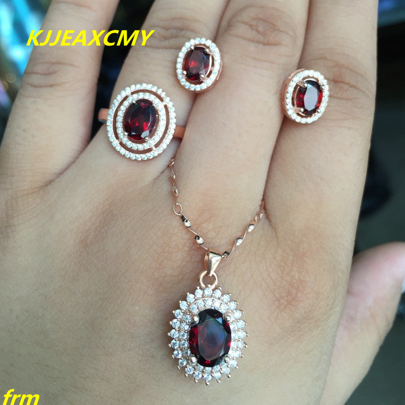 KJJEAXCMY Fine jewelry 925 silver jewelry inlaid natural colorful gem garnet female models jewelry set happiness package rhinestone inlaid geometric faux gem pendant jewelry set