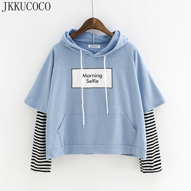 Loose Hooded Morning Sweatshirt Print Letters Women Selfie Jkkucoco xdIXzvv