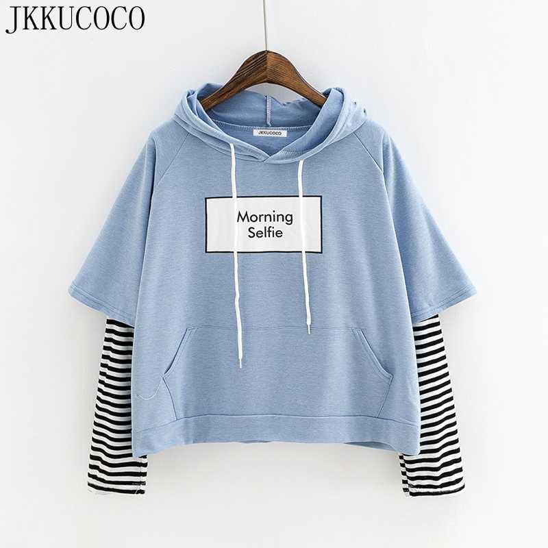 f011bdc46 JKKUCOCO Morning Selfie letters Print Loose hooded Sweatshirt Women Hoodie  Hoodies Fail Two Striped Sleeve Casual