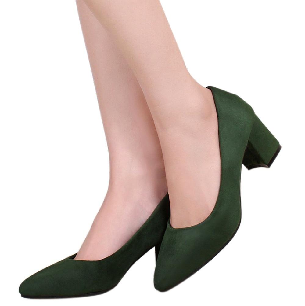 Aiyoway Automne Bureau Taille Robe 5 Élégant Femmes Chaussures Confortable ~ Partie Printemps wine Grande green Red Pointu Haut Bloc Talon Black Bout Pompes 13 r8rwxav