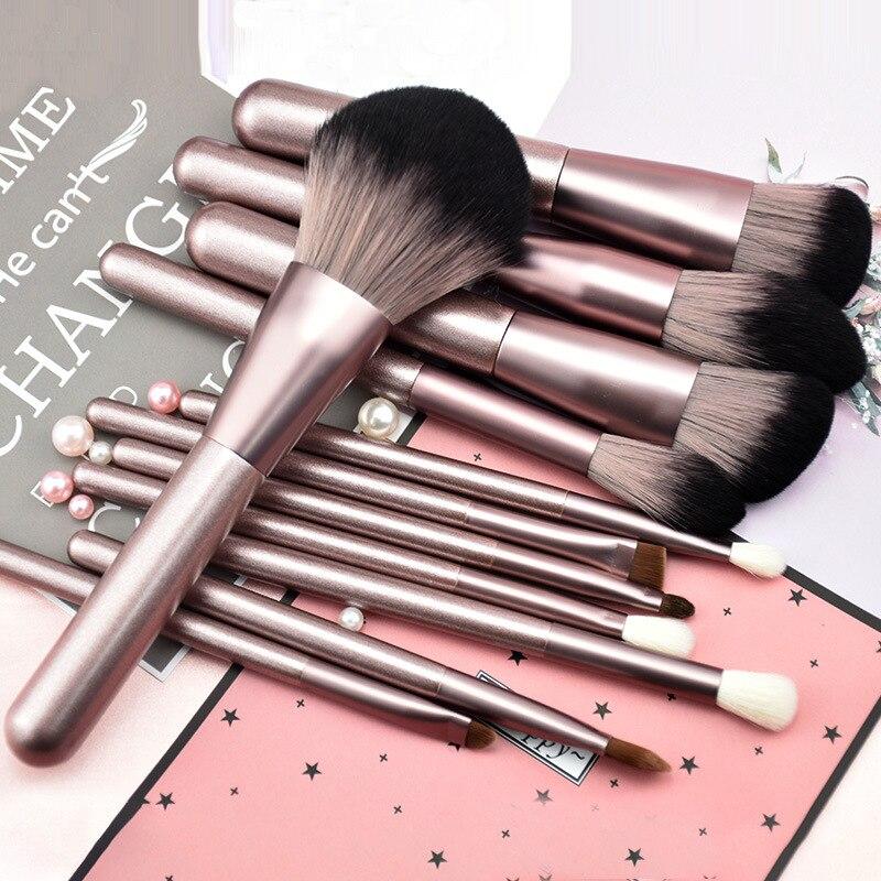 12Pcs animal hair makeup brush microcrystalline eye shadow foundation repair capacity eyebrow makeup brush set wool beauty tools 1