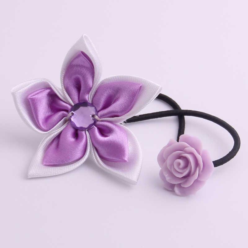 เครื่องประดับดอกไม้ผมเหงือก Rose ดอกไม้อะคริลิค Charms ผมวงยืดหยุ่นมือทำผ้าผม Pony Tail ลูป