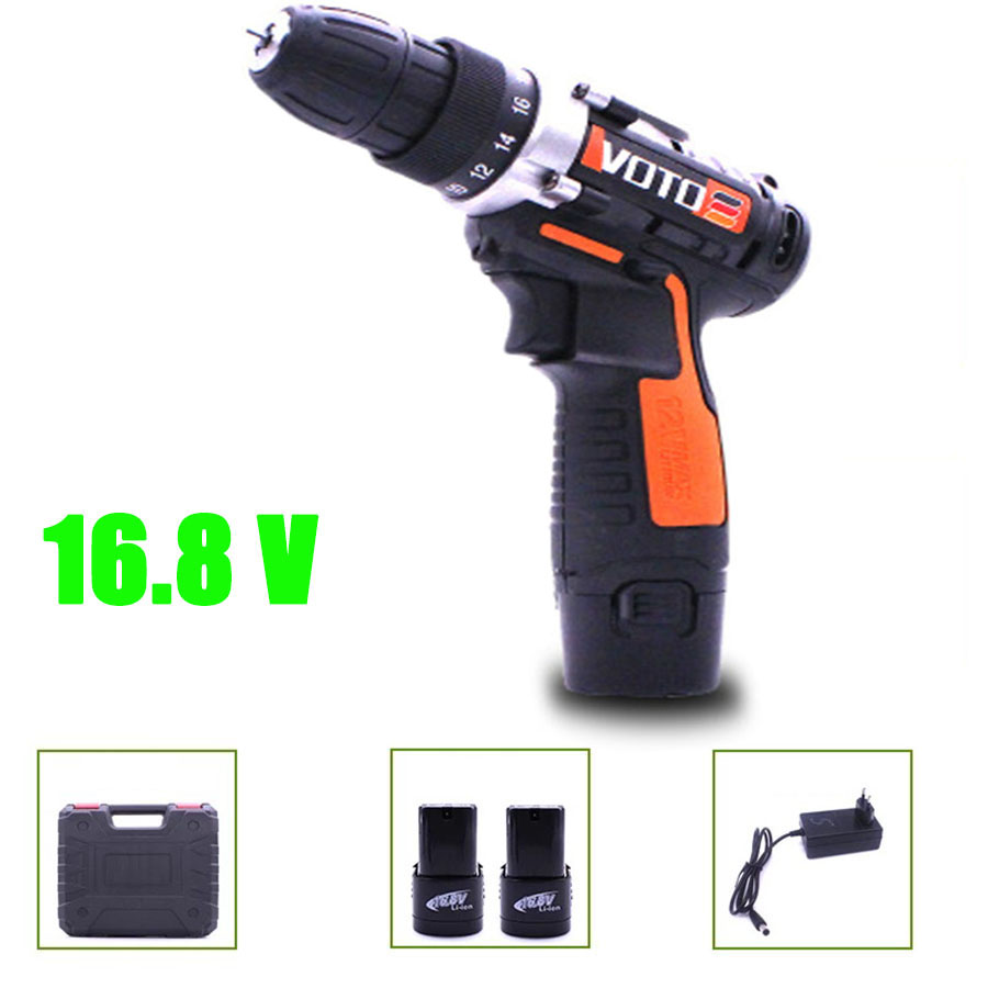 VOTO 2*Battery Rechargeable Cordless Drill Electric Screwdriver Lithium Power Tools Screw Gun Driver Orange 16.8V WIith Case VT цена