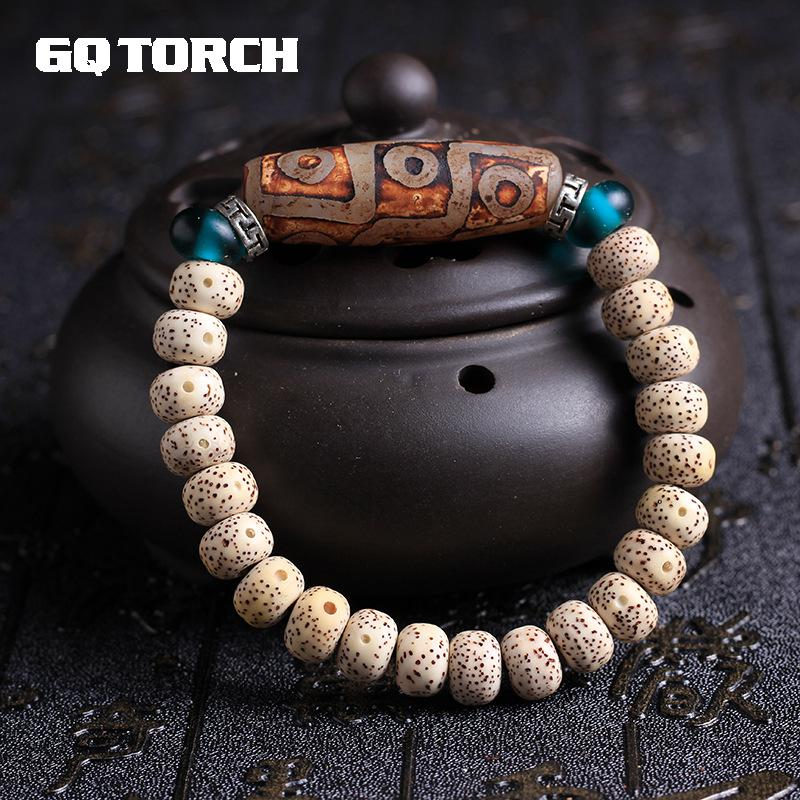 Authentic Natural Bodhi Seed Beads Bracelets With Dzi Bead Evil Eye For Women Vintage Tibetan Silver Original Design