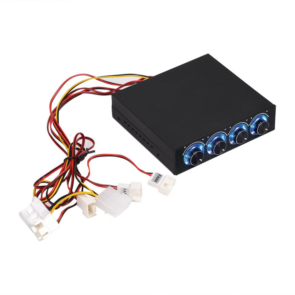 4 Channel Computer Fan Speed and Temperature Controller Heat Reducing for PC with Blue LED