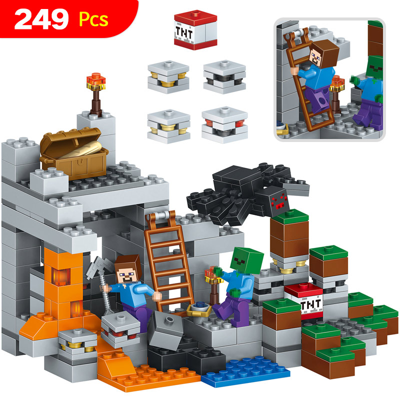 My World Series Big Box Set Model Educational Classic Building Blocks Compatible LegoINGLYS Minecrafter Mine World Brick 249 Pcs