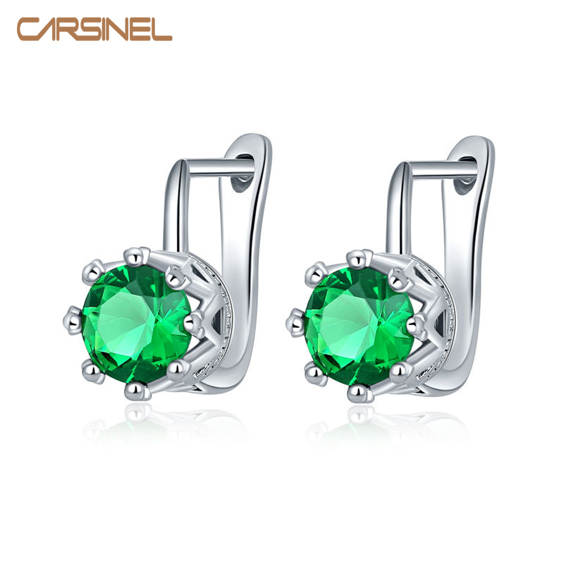 CARSINEL Fashion Woman Silver Color Filled AAA+ Cubic Zircon Hoop Earrings Trendy White Gold Earrings For Women Jewelry ER0281