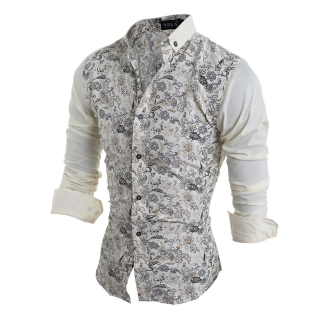 2015 nueva marca remiendo Floral moda flor visten Camisas de manga larga Slim Fit Casual Camisas Social Masculinas M-XXL