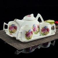 Drop Shipping 6 Pcs European Style Bone China Coffee Set With Tray,Afternoon tea Set High Grade Ceramic Drinkware