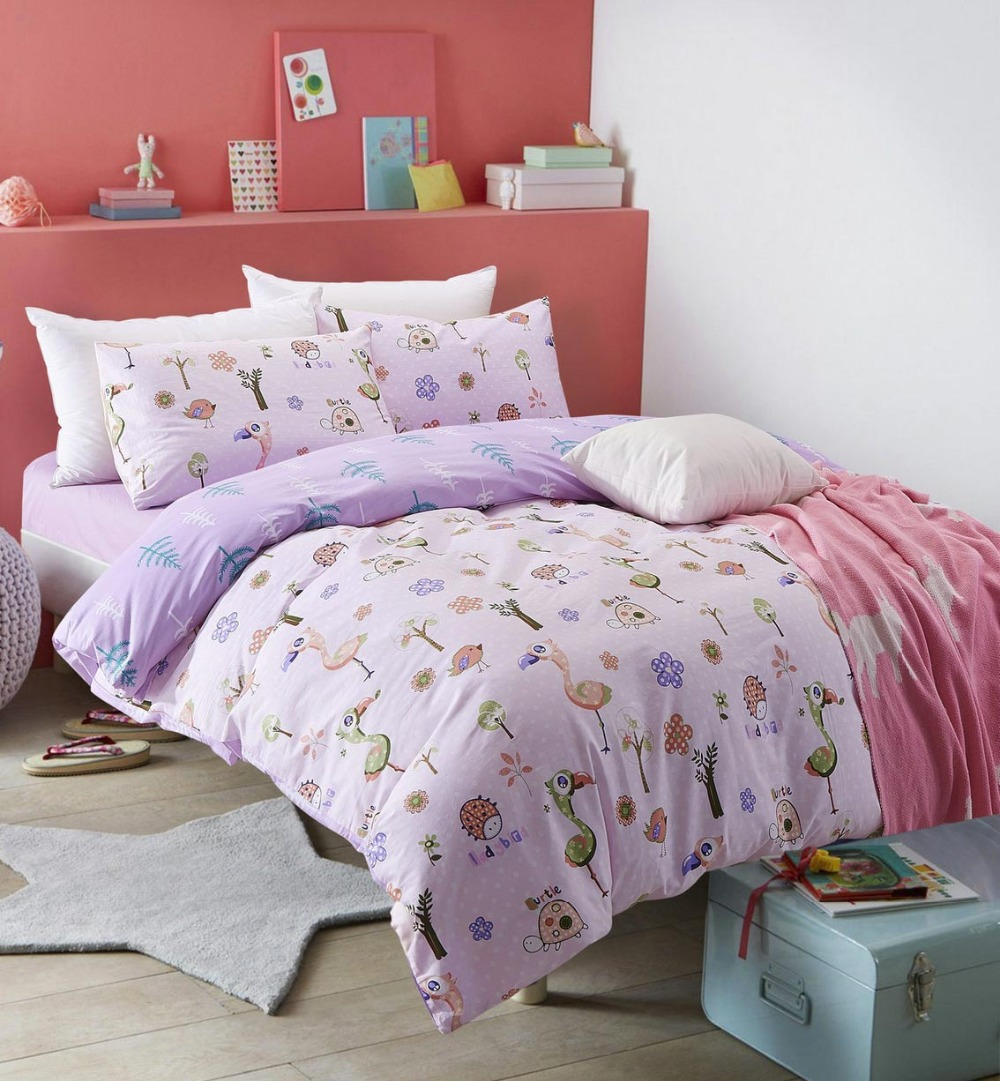 Bed sheets for teenagers - Cute Cartoon Bird Single Double Bed Sets Teen Kid Twin Full Queen Cotton Character Home