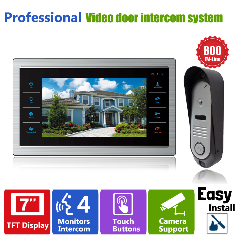 """bilder für Homefong 7 """"LCD Video-türsprechanlage Intercom Türklingel Kamera 800TVL Home Security Türverkleidung Überwachungssystem"""