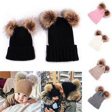 DARCHROW Cute Winter Mom Women Baby Kids Crochet Knitted Hat Caps Children Girl Boy Wool Fur