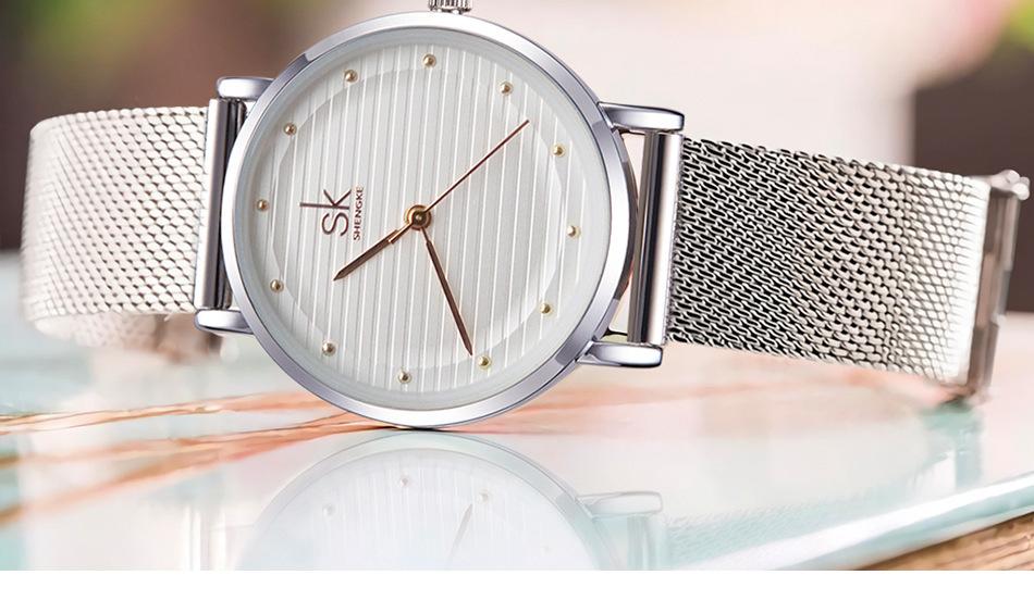 Shengke Casual Luxury Silver Rhinestone Waterproof Ladies Watch