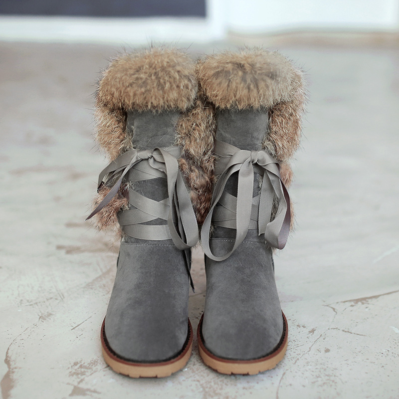SWYIVY Rabbit Fur High Tall Snow Boots Woman Flats 2018 Winter New Female Velver Snow Shoes Lacing Up Warm Fur Snow Boots  34 43