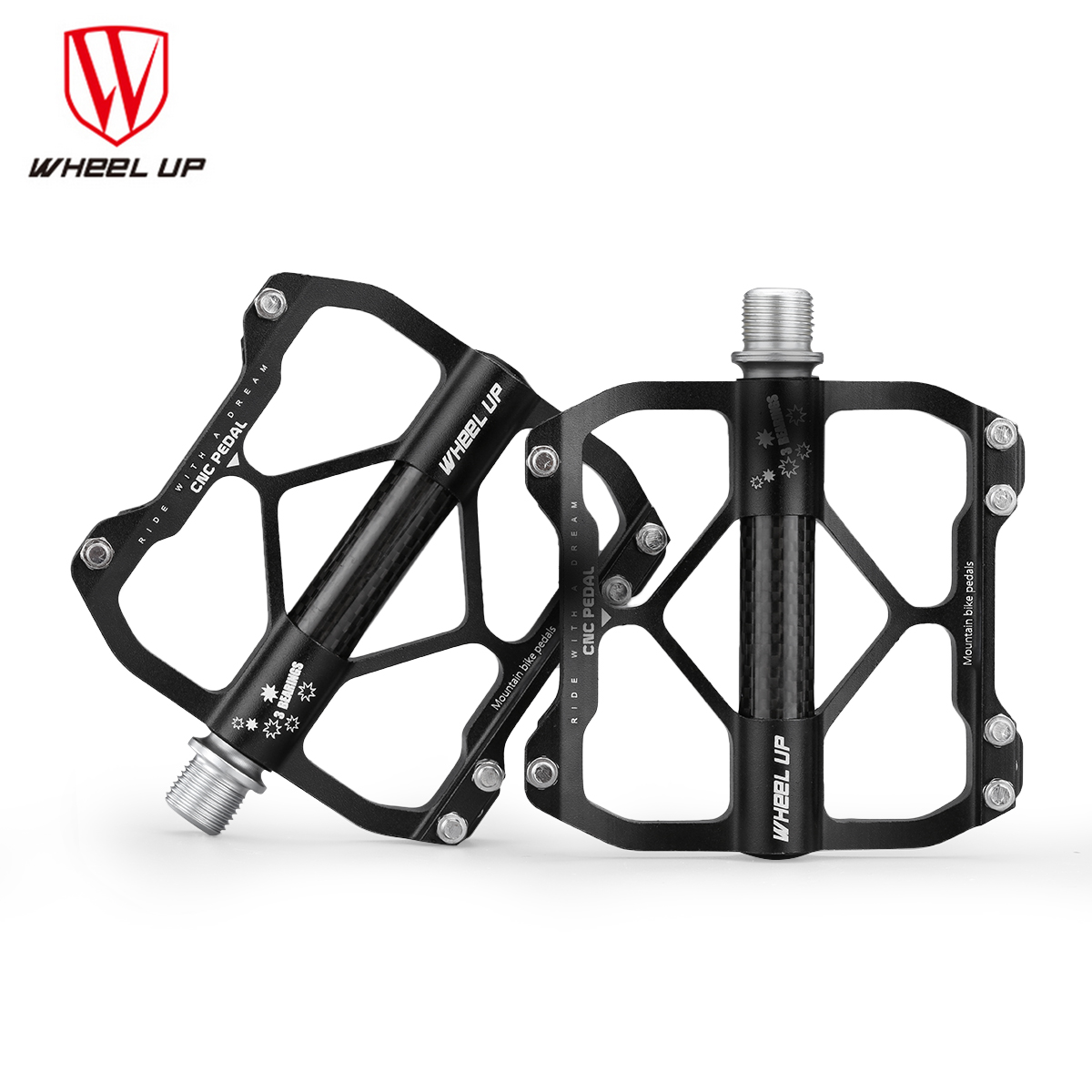 wheel up aluminium alloy carbon tube bike pedals mountain. Black Bedroom Furniture Sets. Home Design Ideas